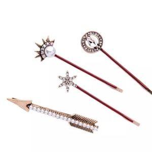 Accessories - Boho Hair pins set pearl rhinestone antique look